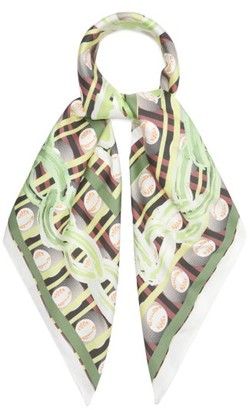 Matty Bovan - Chain And Logo-print Silk Scarf - Womens - Green