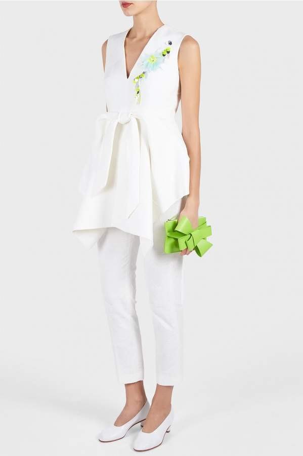 DELPOZO Embroidered Peplum Top