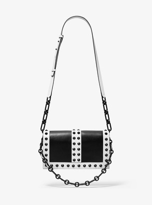 Michael Kors Courtney Studded Two-Tone Leather Shoulder Bag