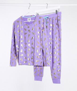 Chelsea Peers pineapple foil pyjama set in baby pink and silver