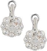 Judith Ripka La Petite Snowflake White Sapphire Drop Earrings