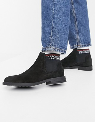 Tommy Hilfiger suede chelsea boot in black