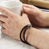 Posh Totty Designs Personalised Men's Silver And Leather Message Bracelet