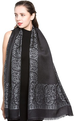 World of Shawls Reversible/Two Sided Print Self Embossed Pashmina Feel Wrap Scarf Stole Scarves Shawl (Black/Turquoise)