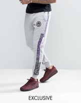 Hype Skinny Joggers In Gray With Bandana Print Panels