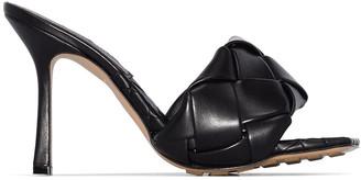 Bottega Veneta Black Rubber Sole Lido Sandal