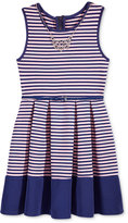 Beautees Stripe Skater Dress & Necklace Set, Big Girls (7-16)