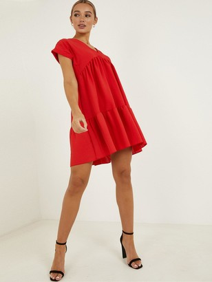 Quiz V-Neck Short Sleeve Tiered Smock Dress - Red