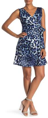 WEST KEI Sleeveless Leopard Print Faux Wrap Dress