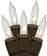 Gerson 92154 - 100 Light 27.5' Brown Wire Clear Miniature Christmas Light String Set