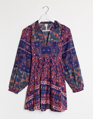 Raga Vivid Dreams volume sleeve smock dress