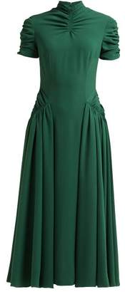 Emilia Wickstead Ariane Ruched Crepe Midi Dress - Womens - Emerald