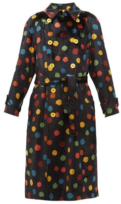 M Missoni Polka-dot Upcycled Velvet Trench Coat - Black Multi
