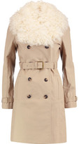 Tory Burch Shearling-Trimmed Cotton Trench Coat