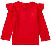 Ralph Lauren Cotton Jersey Ruffle Knit Top Girl's Long Sleeve Pullover