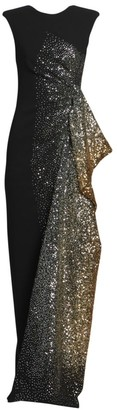 Dries Van Noten Sleeveless Side Ruffle Sequin Gown