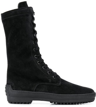 Tod's Lace-Up Calf-Length Boots