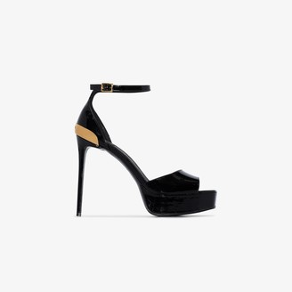Balmain black Pippa 120 patent leather sandals
