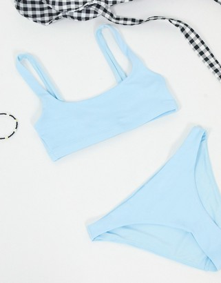 Weekday scoop neck bikini top in ice blue