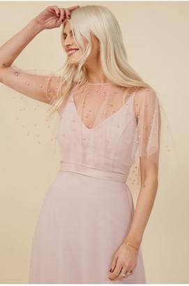 Little Mistress Bridesmaid Nela Blush Pearl Mesh Overlay Maxi Dress