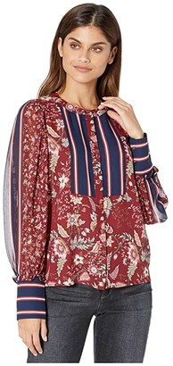 BCBGMAXAZRIA Mixed Print and Stripe Woven Blouse (Deep Red/Floral Toile) Women's Clothing