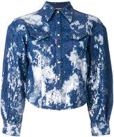 DSQUARED2 bleached denim sequin shirt - women - Cotton/Acrylic/Spandex/Elastane - 40