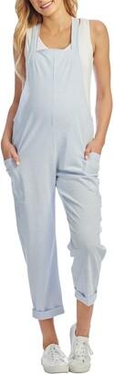 Everly Grey Nani Maternity/Nursing Seersucker Overalls