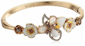 Anne Klein BR Hinge Bangle Flowers - GLD/White MLT