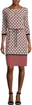 Liz Claiborne 3/4 Sleeve Geometric Shift Dress