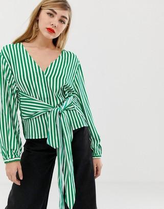 MBYM stripe wrap blouse-Green