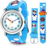 Bling Jewelry Blue Sailor Tugboat Nautical Kids Watch Stainless Steel Back.