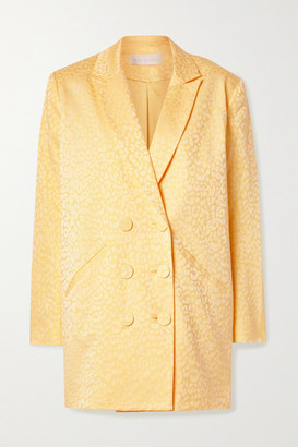 Mason by Michelle Mason Double-breasted Cotton-blend Jacquard Mini Dress - Pastel yellow