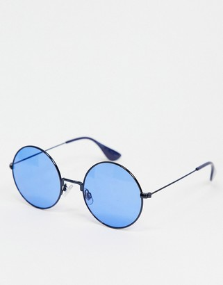 A. J. Morgan AJ Morgan round sunglasses with blue frames