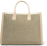 AERIN Leather-trimmed Woven Straw Tote - Mushroom