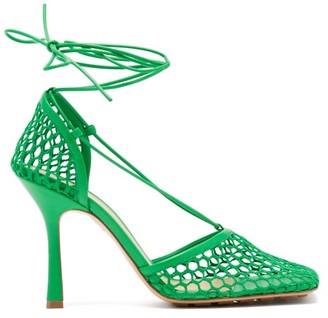 Bottega Veneta Stretch Wraparound Leather And Mesh Pumps - Green