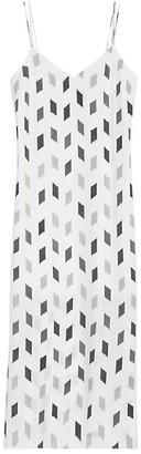 Theory Geo Print Silk Midi Slip Dress