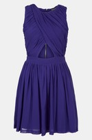 Topshop Ruched Wrap Bodice Skater Dress