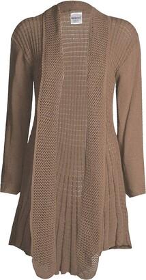 GirlzWalk@Womens Long Sleeves Plain Crochet Knitted Waterfall Cardigan Sweater (Mocha ML/UK 12-14)