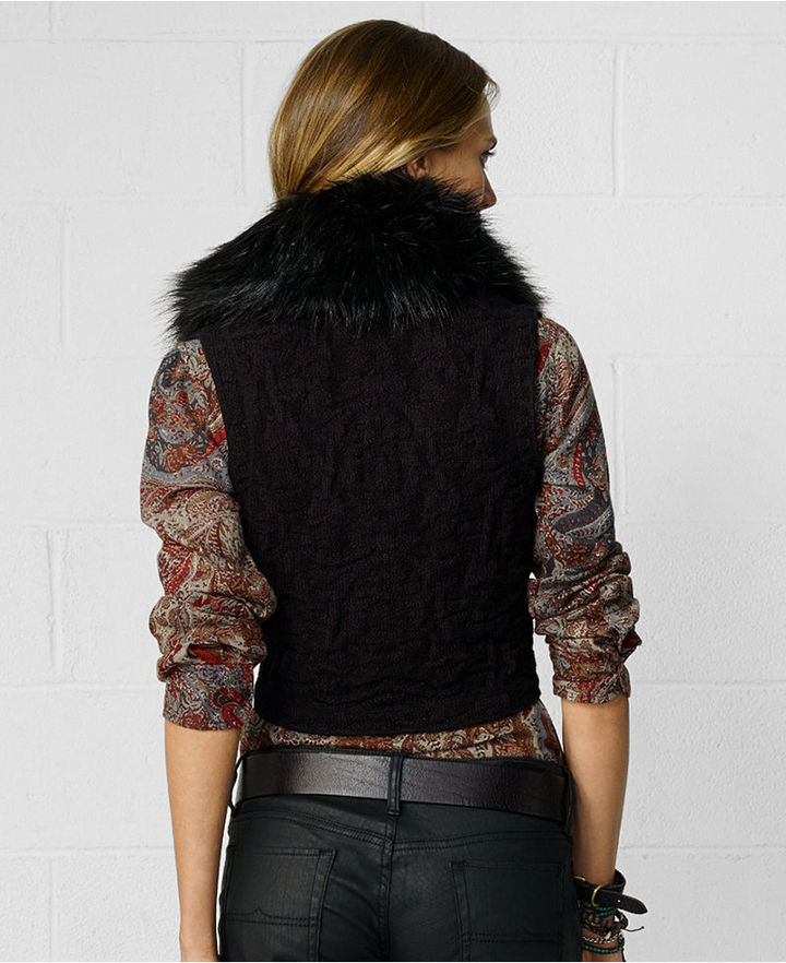 Denim & Supply Ralph Lauren Vest, Faux-Fur Zip-Front