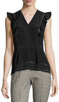 Veronica Beard Brooke Sleeveless Embroidered Top, Black