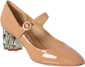 Salvatore Ferragamo Refracted Heel Mary Jane Patent Pump