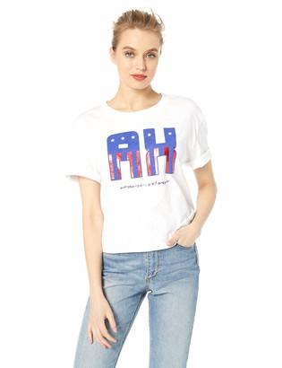 A X Armani Exchange Women's American Flag Logo Graphic Crop Tee