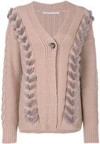 Agnona cable knit detail cardigan - women - Mink Fur/Cashmere/Wool - L