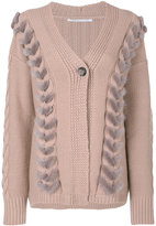 Agnona cable knit detail cardigan - women - Mink Fur/Cashmere/Wool - S