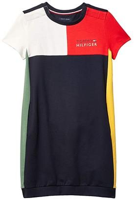 Tommy Hilfiger Adaptive Milan Multiblock Sweatshirt Dress (Little Kids/Big Kids) (Racing Red) Women's Dress