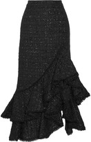 Erdem Cerena Ruffled Metallic Tweed Skirt - Black