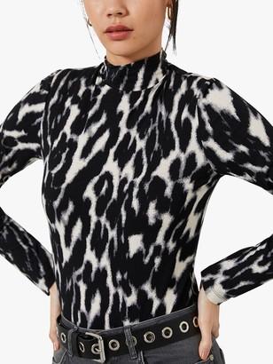 Mint Velvet Leopard Print Polo Neck Top, Grey/Multi