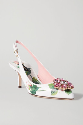 Dolce & Gabbana Crystal-embellished Floral-print Leather Slingback Pumps - White