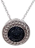 Savvy Cie Rhodium Plated Sterling Silver Blue Diamond Pendant Necklace