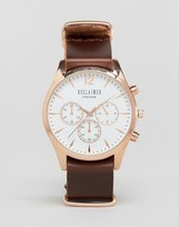 Reclaimed Vintage Chronograph Leather Watch In Brown